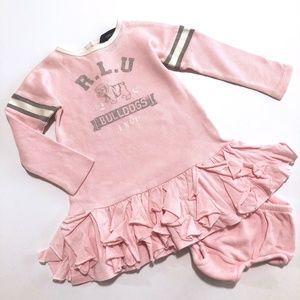 Girls Ralph Lauren Pink Bulldog Ruffle Dress 18M